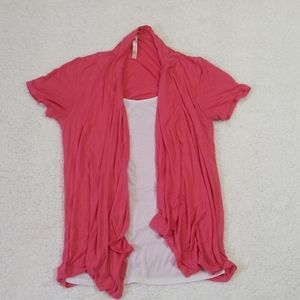 💝Coral pink cardigan with built in white shirt